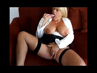 Robyn ryder hot solo in fishnet high heels dildo herself hot