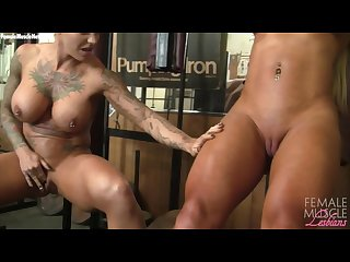 Muscle lesbians dani and megan workout