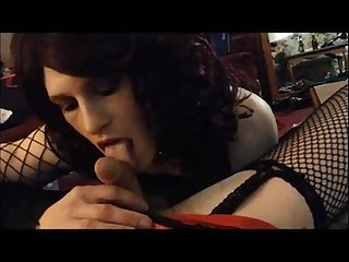 Slutty crossdresser sucking