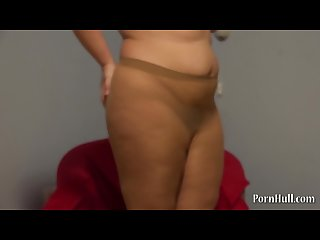 Cute fatty in pantyhose and hairy pussy handjob