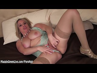 Busty babe maggie green pleases herself with glass toy