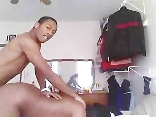 Hidden cam black nerd comes over for the d