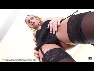 Upskirt foot fetish dildo masturbation video on kiara lord in stockings