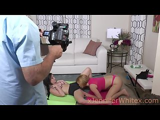 Behind the scenes of jennifer and krissy getting drilled with strap on