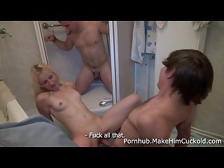 Make him cuckold fucking revenge in a bathroom