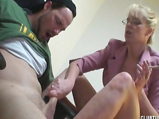 Milf boss smokes and jerking cock