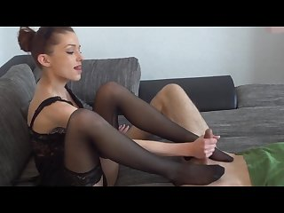 Pantyhose footjob handjob and blowjob with cum