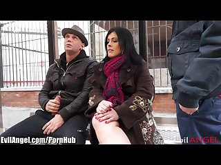 Spanish milf picked up in public and Dp d