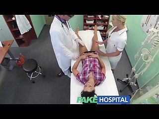 Fakehospital patient enjoys nurse massage and doctors big cock therapy