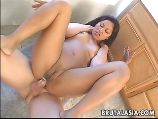 Asian babe is drooling all over the dude s hot dick