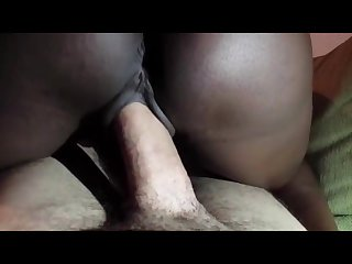 Wife s dark ebony pussy clamps on like a vice to husband s white dick