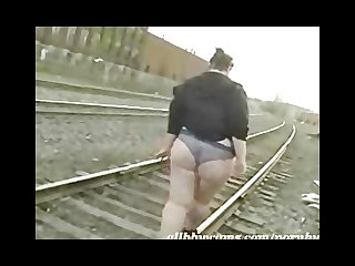 Fat princess gets nude on railway 1