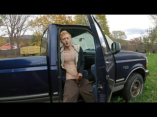 Straight 18 year old redneck cum on dad S old truck Moaning