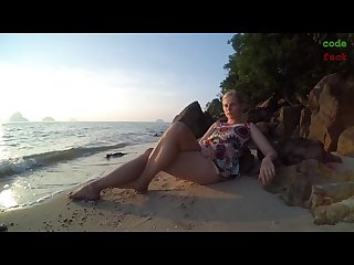 On public beach teen masturbation double crossleg fingering solo fun ending