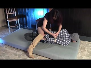 Boy hogtied by girl