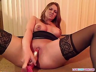 Sexy wife masturbates in pantyhose