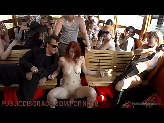 Redhead is fucked on a boat full of stranger