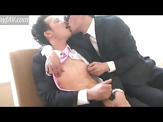 Gay japanese business man got nipples ticked and licked
