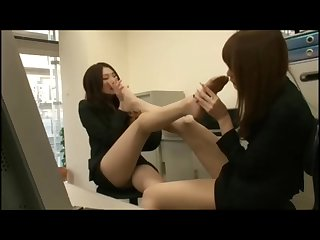 Japanese office ladies enjoy the smell of their feet