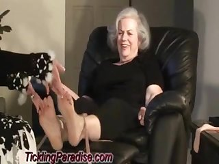 Fat grandma S feet tickled quick clip