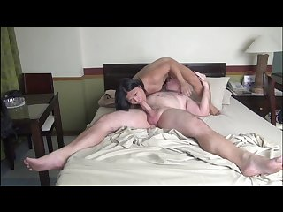 Chunky daddy gets fucked by filipina shemale