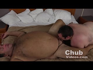 Hairy chubby daddy and cub