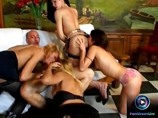 Tranny joins in a wild casual group sex session