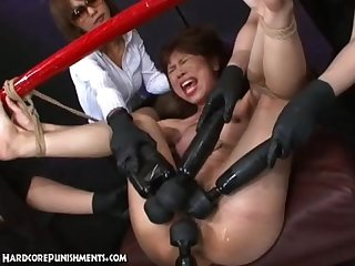 Japanese girl tied up and fucked with power Tools and made to orgasm