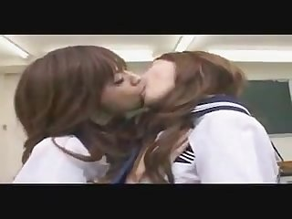 Japanese lesbians tongue kissing and sucking