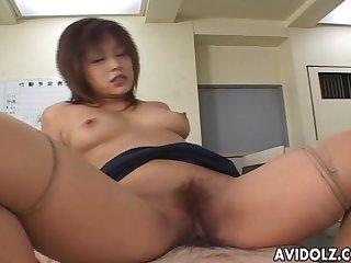 Sweet japanese gal enjoys hardcore pussy drilling