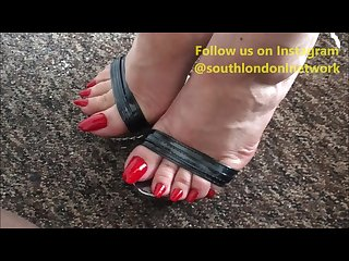 Long toenails footjob feet humping handjob of lady lev