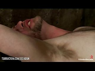 Horny shemale gives anal fucking with cumshot on bondage guy