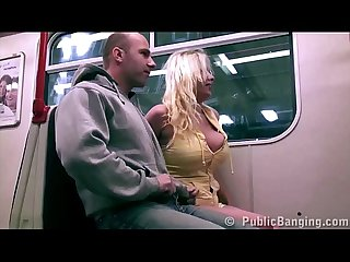A hot blonde with big tits public sex subway train gang bang threesome orgy
