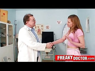 Dirty old doctor finger checks hot russian blonde olga barz