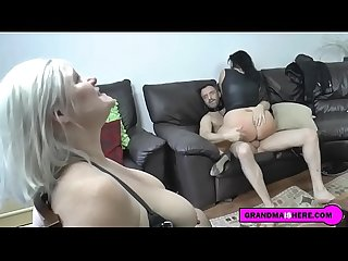 grandma and her busty friend have rough sex