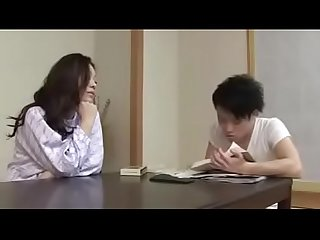 Japanese mom with son drink and fuck