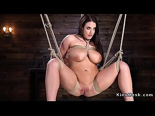 Hogtied huge tits Babe got vibrated
