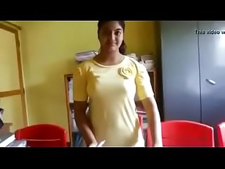 School girl showing her body in staffroom