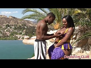 Busty ebony cheerleader pussyfucked outdoors
