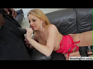 Blonde babe Brittney Amber takes interracial anal sex