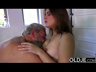 Old man fucks young girl his small cock fucks her mouth and pussy