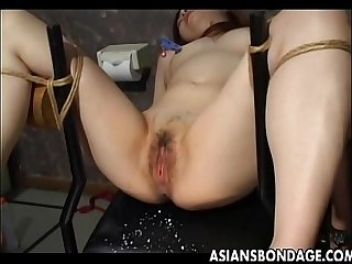 Asian slave tied up and toy fucked terrifically