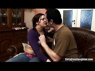 Teen chubby stepdaughter doggstyle couch fucked