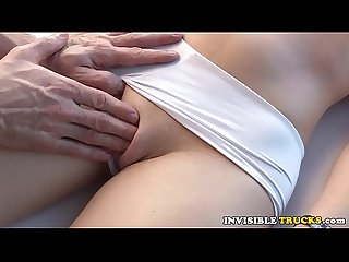 Euro babe massaged before fucking in truck