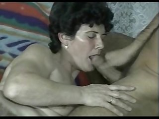 Hairy granny fucks young dude