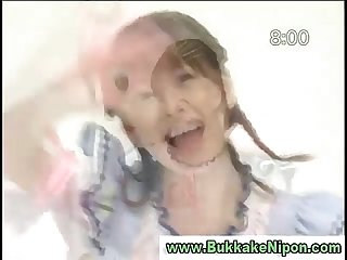 Japanese teen gets facial and bukkake from guys in groupsex