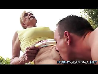 Granny spermed outdoors