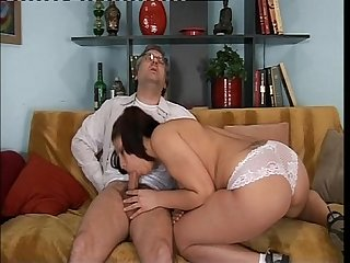 Amazing genç brunette fucked by older man