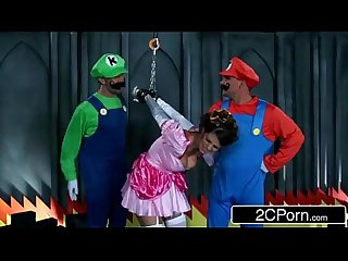 Brunette fucked by 2 mario bros