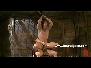 Double fuck the screaming sub in bondage